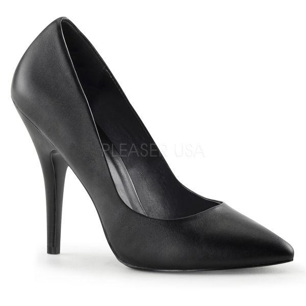 SEDUCE-420 schwarz Leder     Klassische High Heel Leder Pumps